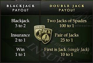 Double Jack sidebet Blackjack Professional Series