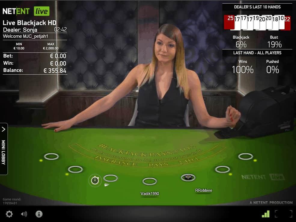 Netent Live Blackjack HD
