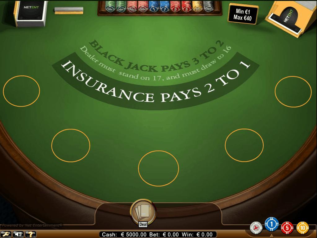 Blackjack Classic met 5 Boxen van Netent
