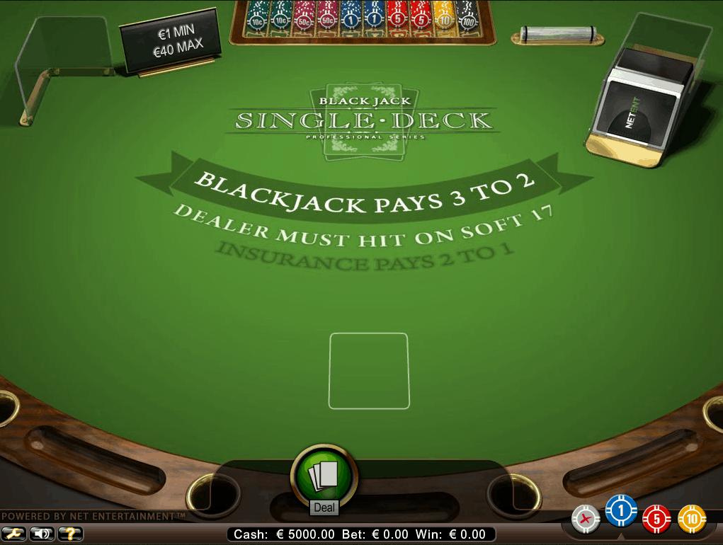 De Blackjack variant van Netent met een Single Deck