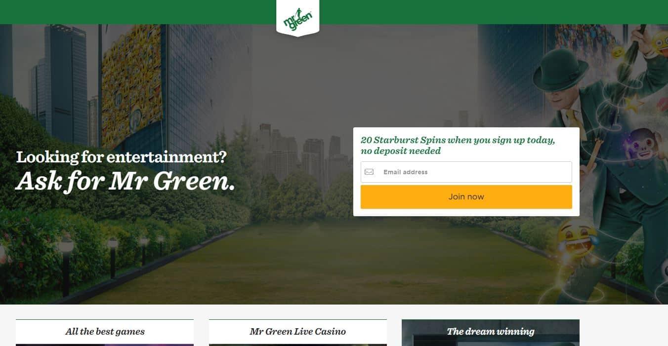 De website van mr green